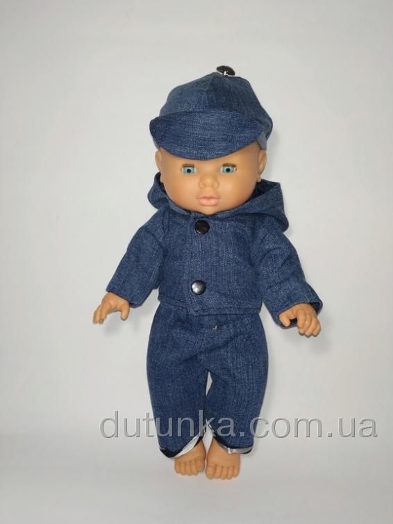 Джинсовий костюм для пупса хлопчика 32 см Dutunka