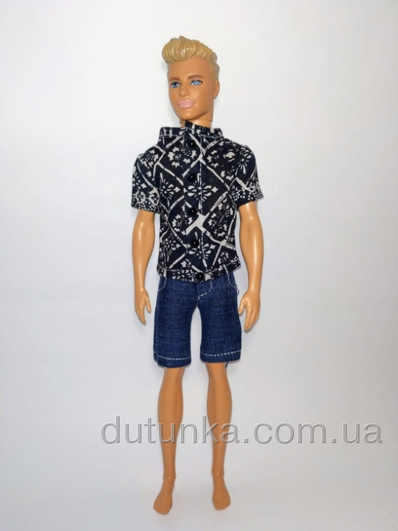 Літній комплект для Кена з теніскою Чорне та біле Dutunka