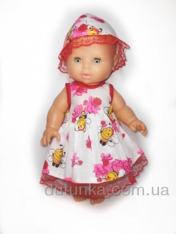 Літнє плаття із шляпкою для ляльки 32 см   Dutunka