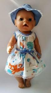 Нарядное платье с панамкой для пупса-девочки Беби Борн Котята (нет в наличии)  Dutunka