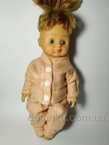 Теплий костюм для ляльки-дівчинки зростом 28 см Персик Dutunka