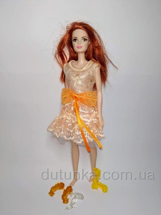 Плаття святкове для ляльки Барбі Персикове Dutunka